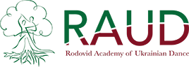 The Rodovid Academy of Dance logo: green tree with roots and and uppercase text RAUD